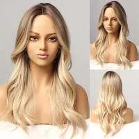Pruik goudblond mix lang haar met grove slag model 014