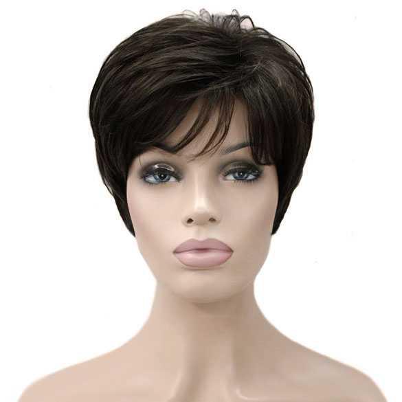 Moderne pruik kort bruin haar in laagjes kleur 6