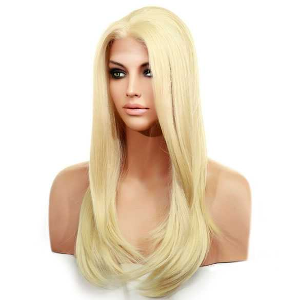 Lace pruik lang steil lichtblond haar zonder pony model Diamond