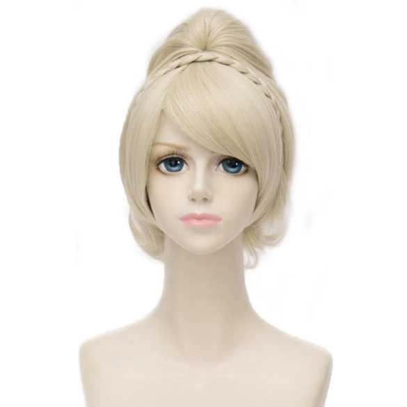 Sprookjes pruik kort blond met klem staart en vlechtje model Elfje