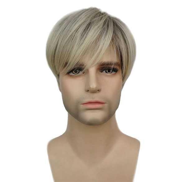 Mannenpruik blondmix met steil haar in lange lagen
