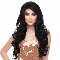 Pruik lang zwart haar met krullen model Boston kleur 1b