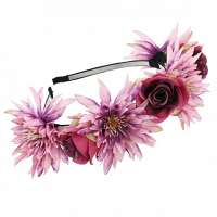 Hippie bloemen diadeem / haarband multi - fuchsia