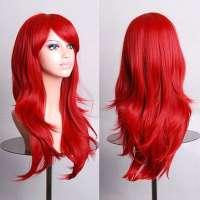 Carnaval pruik lang rood haar in laagjes