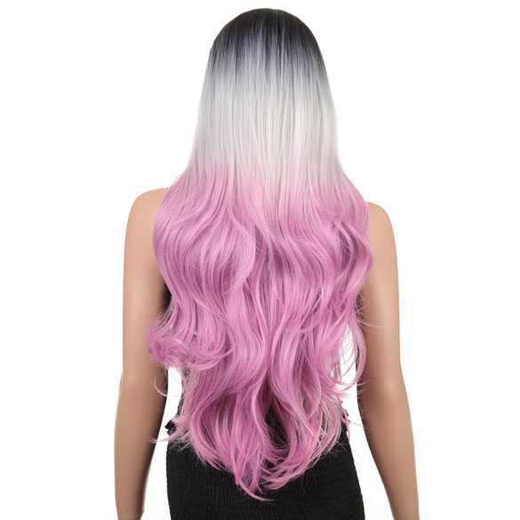 Ombre tri-color pruik met lang haar zonder pony