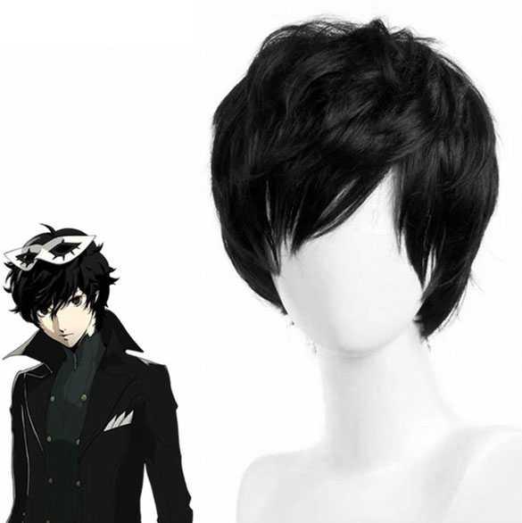 Manga Cosplay pruik kort zwart haar met lange lagen