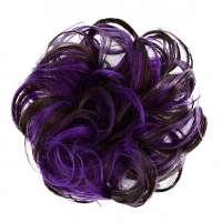 Duo-color haar scrunchie met elastiek bruin paars