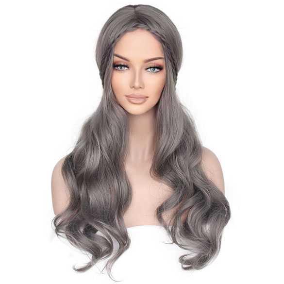 Donkergrijze lolita / festival pruik lang haar met vlechtjes