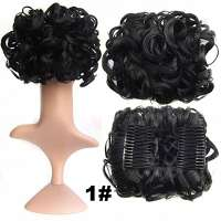 Chignon elastisch haarstukje / vlinderkam zwart kleur 1