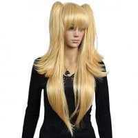 Carnaval pruik goudblond lang steil haar en 2 staarten
