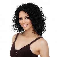 Luxe pruik zwart schouderlang haar met krullen model Silvia