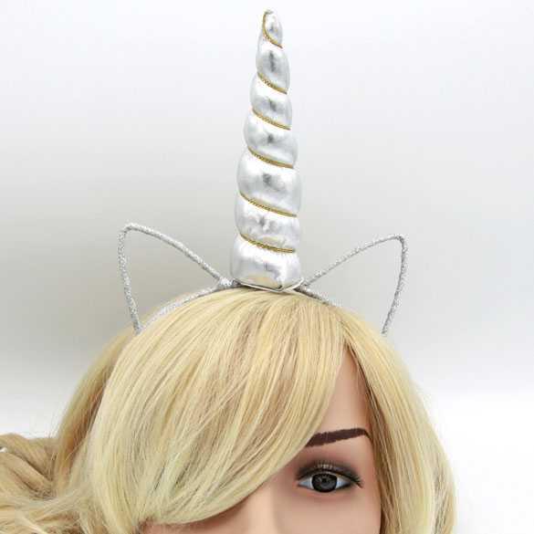 Unicorn haarband met oortjes Wit satijn met gouddraad