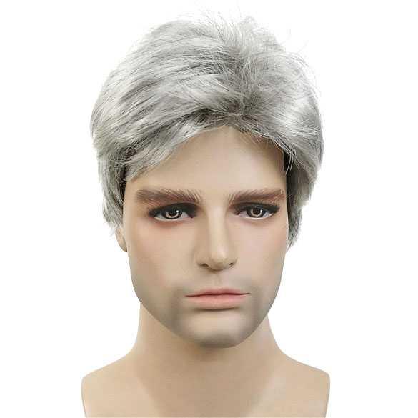 Mannen pruik kort haar in laagjes zilvergrijs kleur 51
