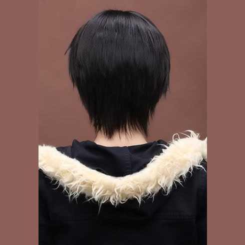 Cosplay Manga pruik kort zwart haar met plukjes
