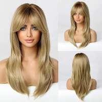 Pruik lang steil blond haar in laagjes met donkere roots model 259 4