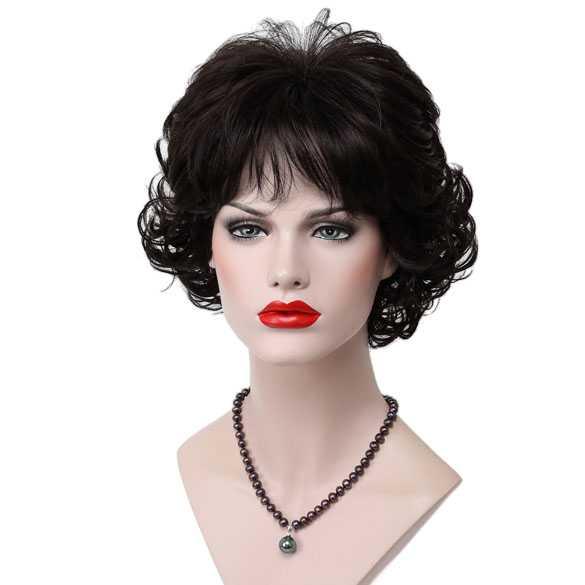 Moderne pruik kort krullend haar zeer donkerbruin kleur 2