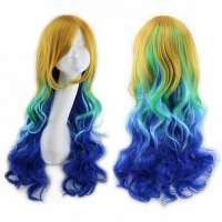 Multicolor Rainbow Festival pruik lang haar met krullen