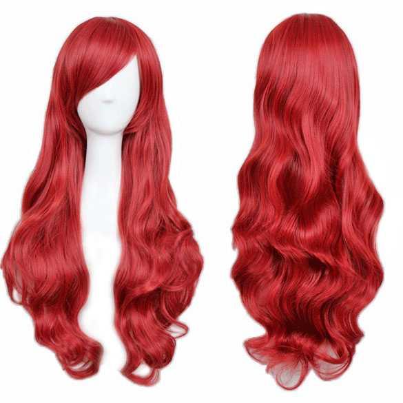 Carnaval Red Passion pruik rood lang haar met slagen