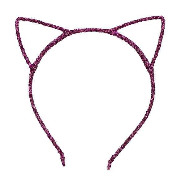 Glinster haarband model katten oortjes fuchsia