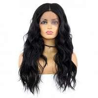 Lace pruik lang zwart haar met grove slagen zonder pony model 7818