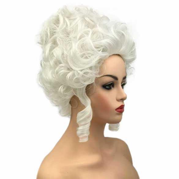 Marie Antoinette pruik zilverwit kort opgestoken look