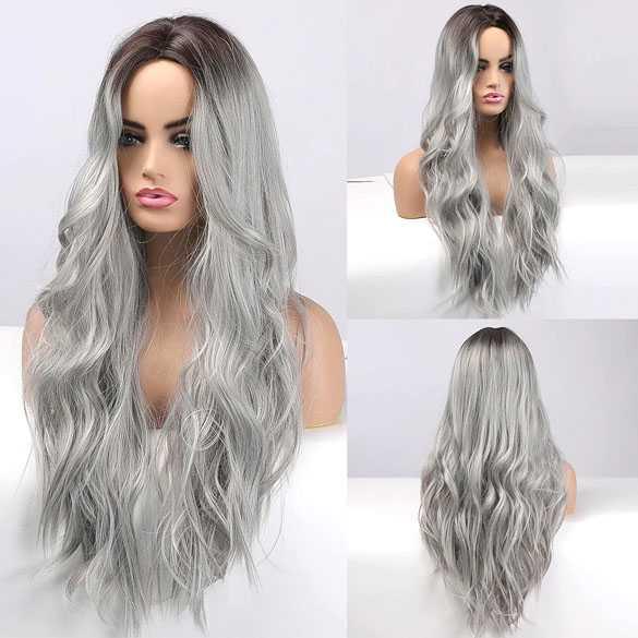 Pruik lang haar in medium grijs met grove slagen