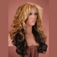 Lace pruik lang haar met krullen model Sofia kleur F2032