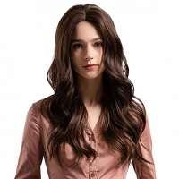 Pruik medium donkerbruin lang haar model Meghan