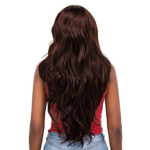 Lace front pruik lang bruin haar met grove slagen in laagjes model Sheyla