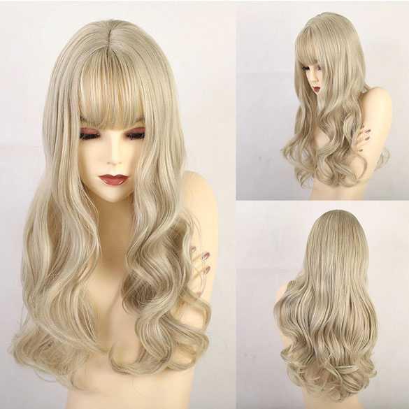 Pruik in blondmix met lang haar in laagjes model 198