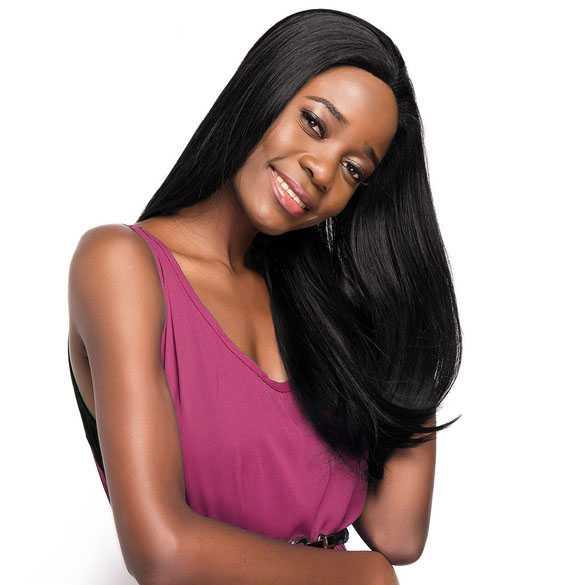 Lace pruik zwart lang steil haar model Tayla