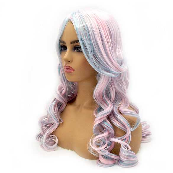 Pruik roze blauw lang haar met krullen (sample verkoop)