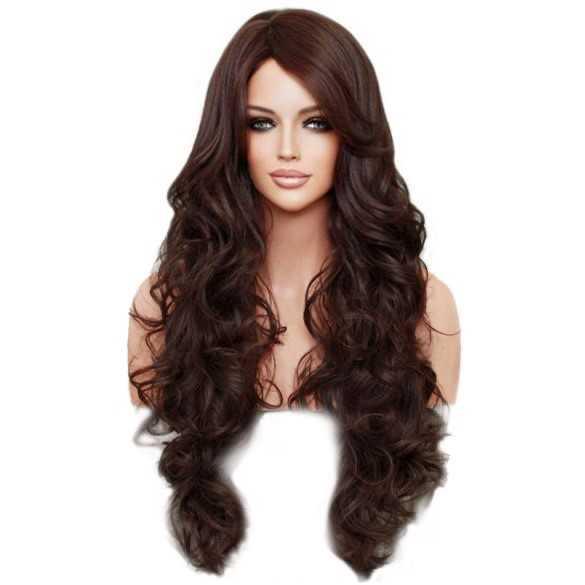Pruik lang bruin haar met krullen model Boston kleur 4