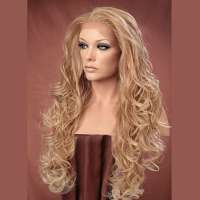Lace pruik lang blond krullend haar model Holiday