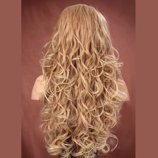Lace pruik lang blond krullend haar model Holiday