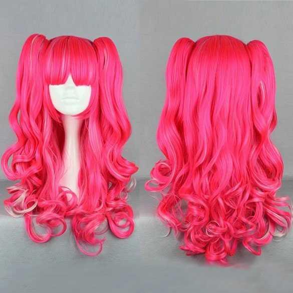 Gothic Lolita krullen pruik roze met staarten   Mooie pruiken bij