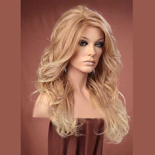 Pruik lang haar blondmix met krullen model Gabby T27-613