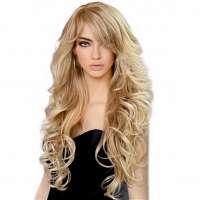 Pruik lang haar met slagen model Vienna kleur T27/613