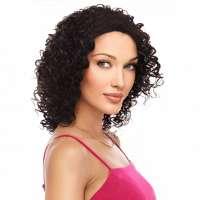 Lace pruik schouderlang bruin haar met krullen model Sheree kleur 4