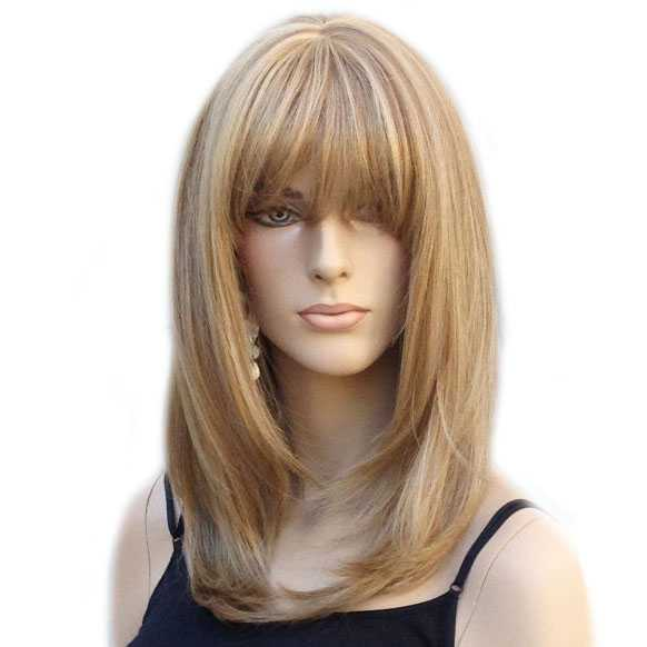Pruik schouderlang steil haar model Lollipop blondmix F14/22