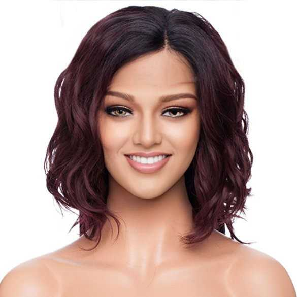 Lace front pruik bob model wijnrood