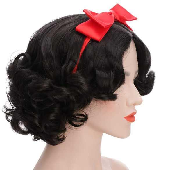 Jaren 30 kapsel kort haar met krullen zonder pony / Sneeuwwitje pruik + haarband