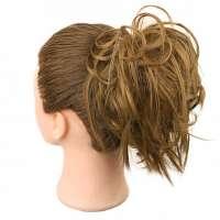 Warrige haar scrunchie met elastiek roodblond kleur 27