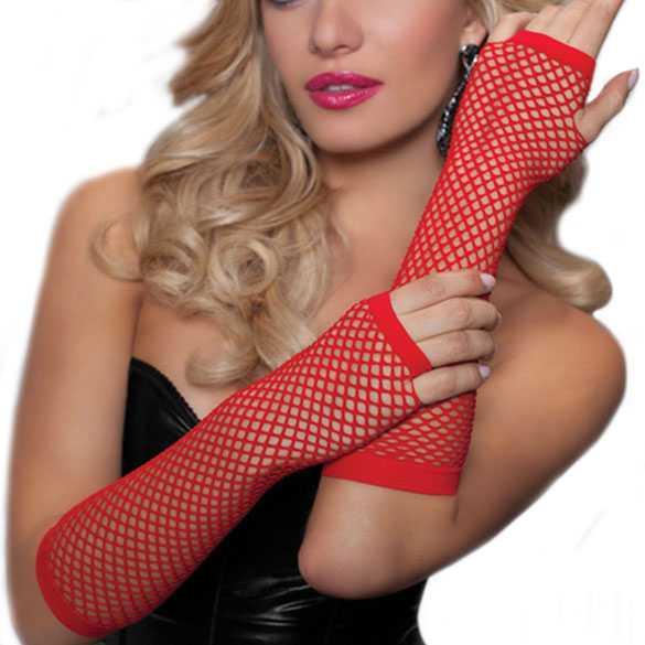 Gaas lingerie handschoenen zonder vingers rood