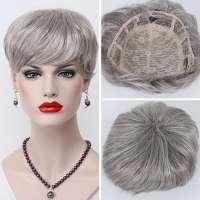 Haartopper met clips grijsmix kleur 51
