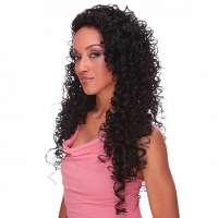Pruik lang zwart haar met spiraalkrullen model Butterfly