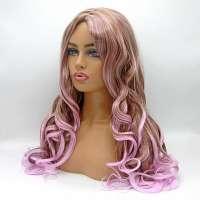 Carnaval pruik lang haar met krullen roze bruin (sample verkoop)