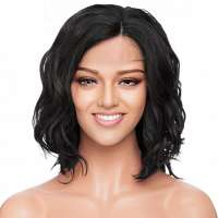 Lace front pruik schouderlang bob model kleur zwart