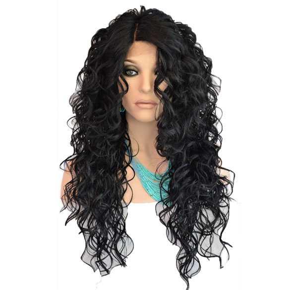Lace pruik lang zwart krullend haar model Lacy