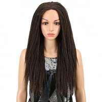 Pruik lang bruin haar met gedraaide strengen model Kate